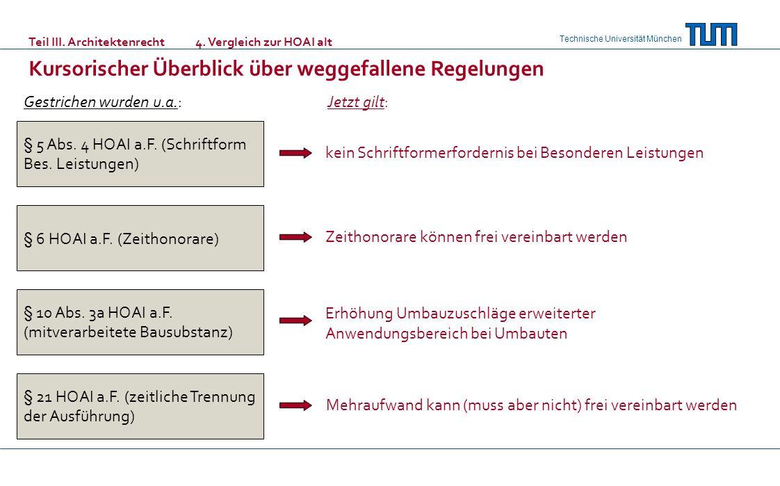 Technische Universität München § 5 Abs. 4 HOAI a.F. (Schriftform Bes. Leistungen) § 6 HOAI a.F. (Zeithonorare) § 10 Abs. 3a HOAI a.F. (mitverarbeitete