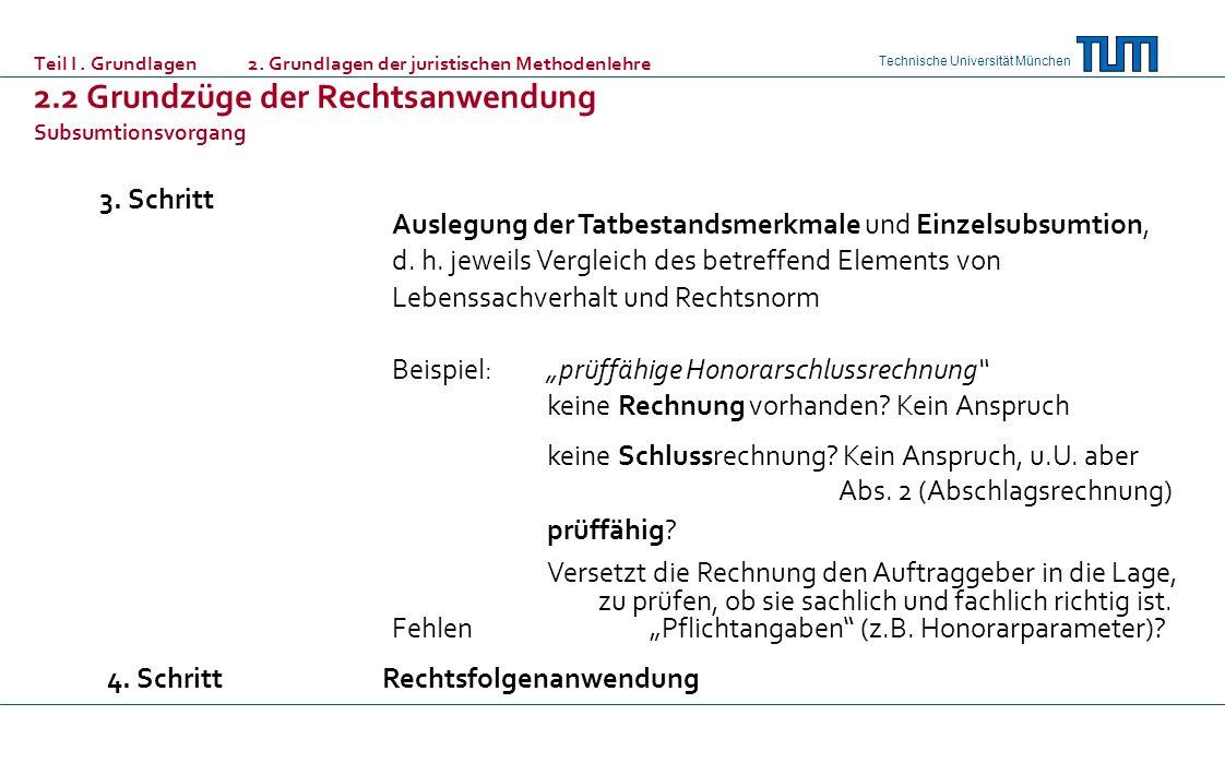 Technische Universität München Teil I. Grundlagen 2. Grundlagen der juristischen Methodenlehre 2.2 Grundzüge der Rechtsanwendung Subsumtionsvorgang 3.