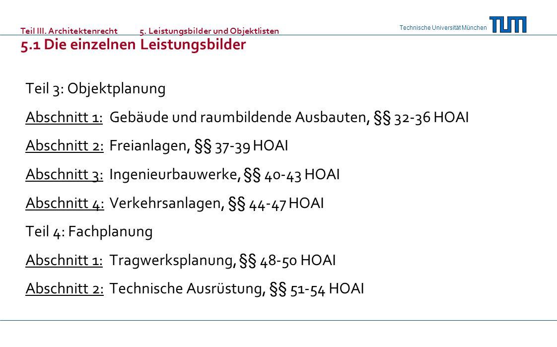 Technische Universität München Teil 3: Objektplanung Abschnitt 1: Gebäude und raumbildende Ausbauten, §§ 32-36 HOAI Abschnitt 2: Freianlagen, §§ 37-39 HOAI Abschnitt 3: Ingenieurbauwerke, §§ 40-43 HOAI Abschnitt 4: Verkehrsanlagen, §§ 44-47 HOAI Teil 4: Fachplanung Abschnitt 1: Tragwerksplanung, §§ 48-50 HOAI Abschnitt 2: Technische Ausrüstung, §§ 51-54 HOAI Teil III.