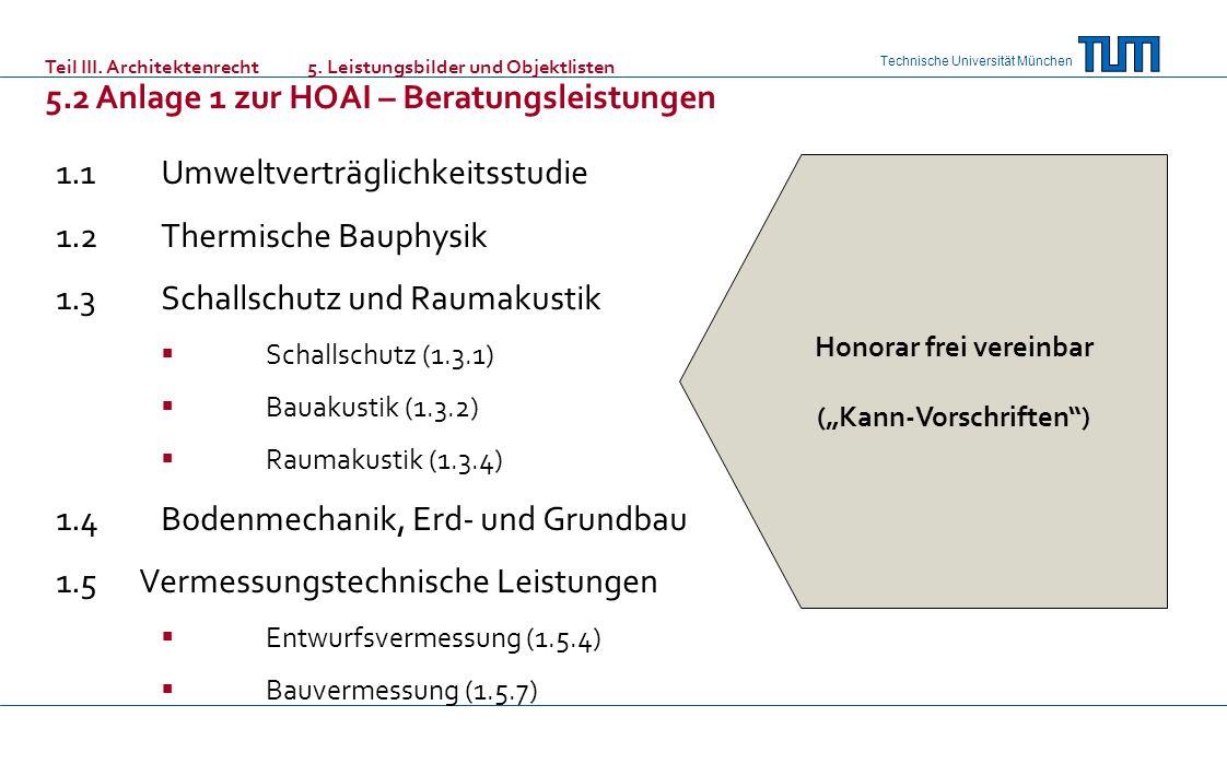 Technische Universität München 1.1Umweltverträglichkeitsstudie 1.2Thermische Bauphysik 1.3Schallschutz und Raumakustik Schallschutz (1.3.1) Bauakustik