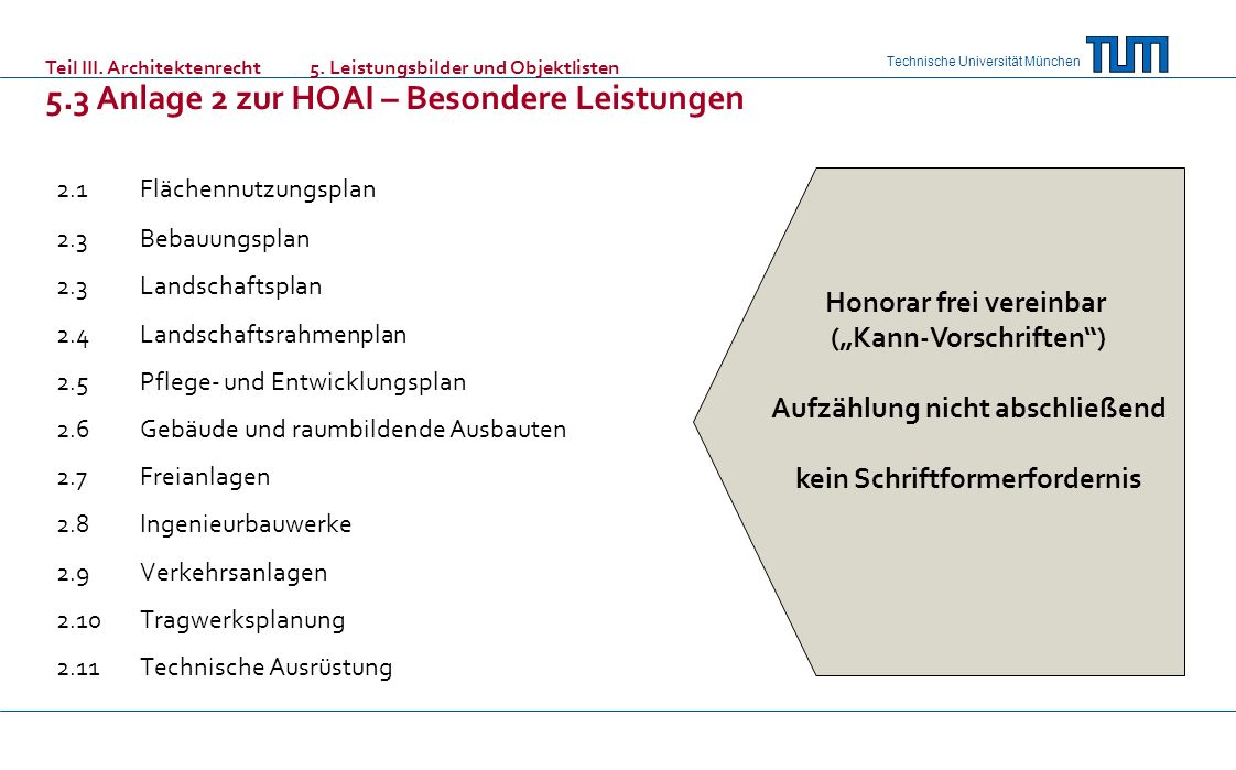 Technische Universität München 2.1Flächennutzungsplan 2.3 Bebauungsplan 2.3Landschaftsplan 2.4Landschaftsrahmenplan 2.5Pflege- und Entwicklungsplan 2.