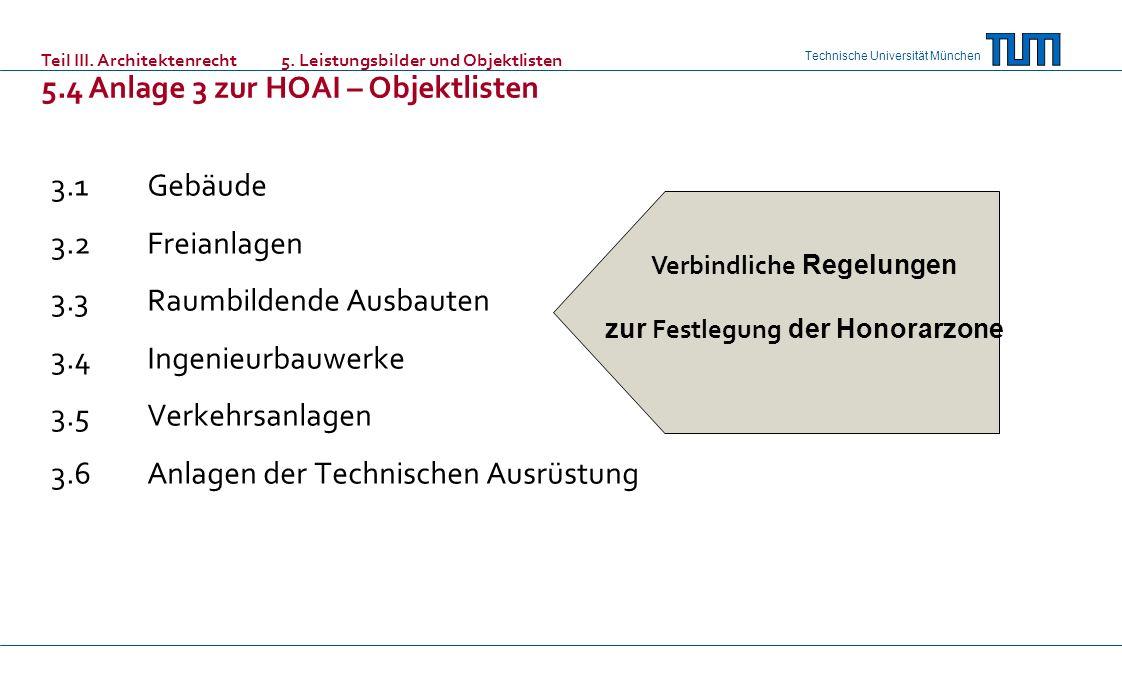 Technische Universität München 3.1Gebäude 3.2Freianlagen 3.3Raumbildende Ausbauten 3.4Ingenieurbauwerke 3.5Verkehrsanlagen 3.6Anlagen der Technischen Ausrüstung Verbindliche Regelungen zur Festlegung der Honorarzone Teil III.