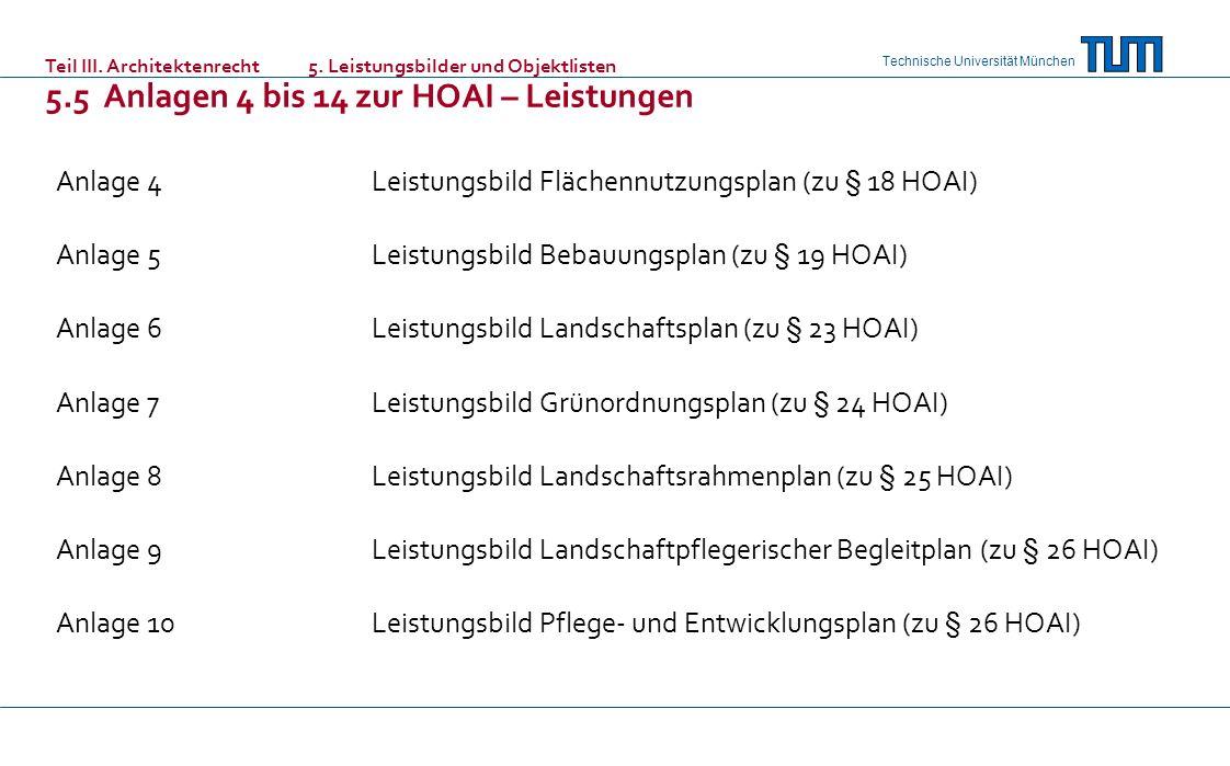 Technische Universität München Anlage 4Leistungsbild Flächennutzungsplan (zu § 18 HOAI) Anlage 5Leistungsbild Bebauungsplan (zu § 19 HOAI) Anlage 6Leistungsbild Landschaftsplan (zu § 23 HOAI) Anlage 7Leistungsbild Grünordnungsplan (zu § 24 HOAI) Anlage 8Leistungsbild Landschaftsrahmenplan (zu § 25 HOAI) Anlage 9Leistungsbild Landschaftpflegerischer Begleitplan (zu § 26 HOAI) Anlage 10Leistungsbild Pflege- und Entwicklungsplan (zu § 26 HOAI) Teil III.