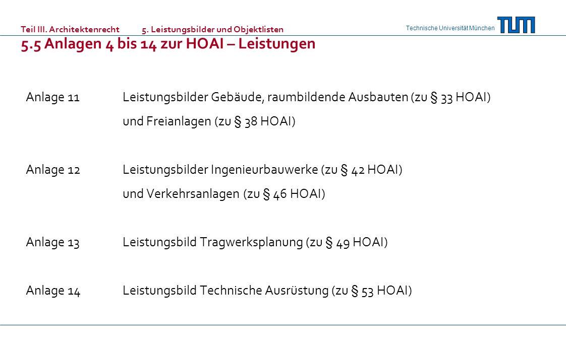 Technische Universität München Anlage 11Leistungsbilder Gebäude, raumbildende Ausbauten (zu § 33 HOAI) und Freianlagen (zu § 38 HOAI) Anlage 12Leistungsbilder Ingenieurbauwerke (zu § 42 HOAI) und Verkehrsanlagen (zu § 46 HOAI) Anlage 13Leistungsbild Tragwerksplanung (zu § 49 HOAI) Anlage 14Leistungsbild Technische Ausrüstung (zu § 53 HOAI) Teil III.
