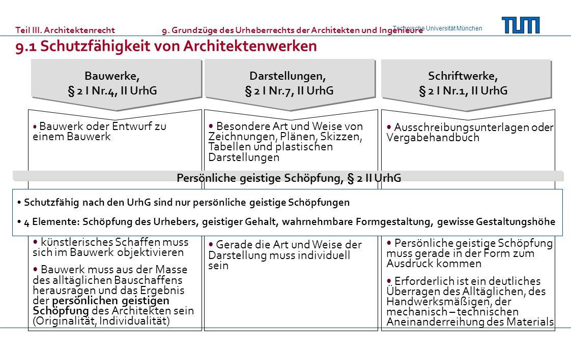 Technische Universität München Teil III. Architektenrecht9. Grundzüge des Urheberrechts der Architekten und Ingenieure 9.1 Schutzfähigkeit von Archite