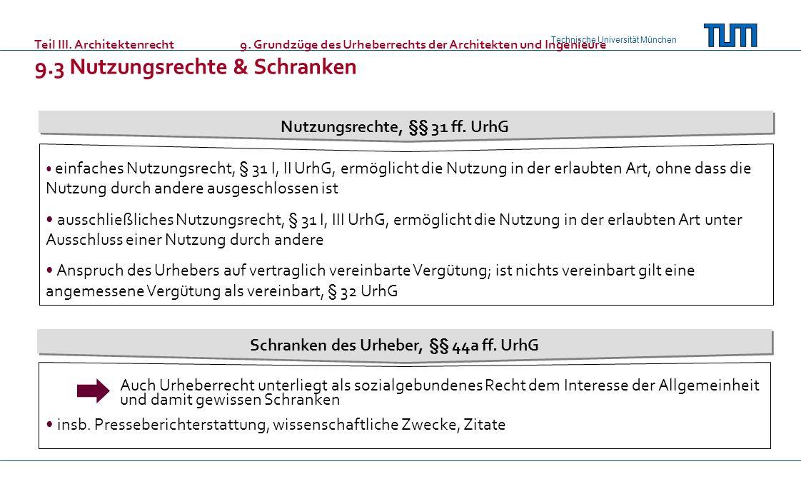 Technische Universität München Teil III. Architektenrecht9. Grundzüge des Urheberrechts der Architekten und Ingenieure 9.3 Nutzungsrechte & Schranken