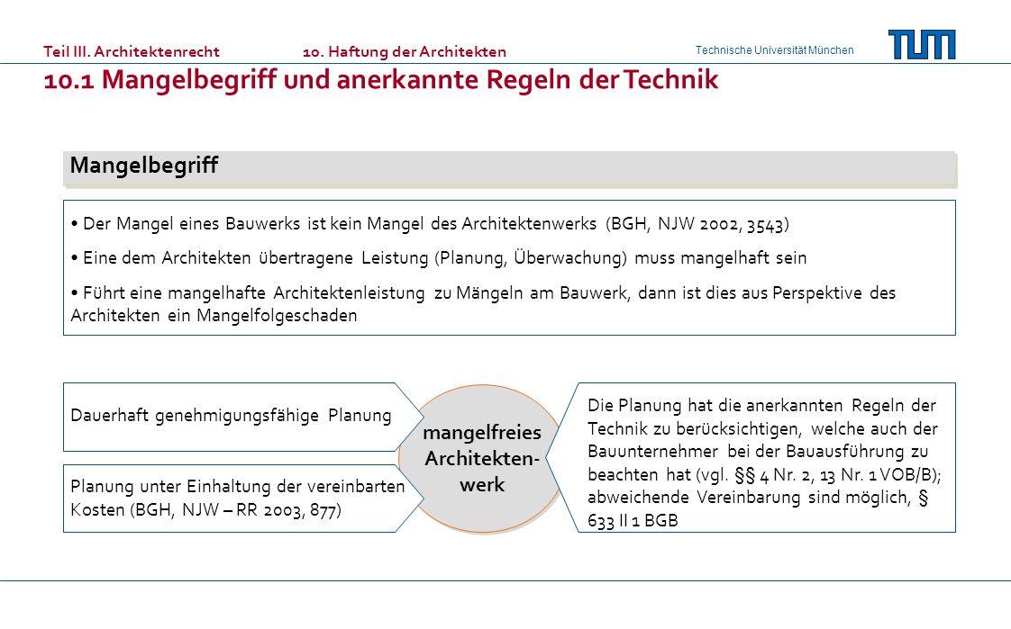 Technische Universität München Teil III. Architektenrecht10. Haftung der Architekten 10.1 Mangelbegriff und anerkannte Regeln der Technik Mangelbegrif