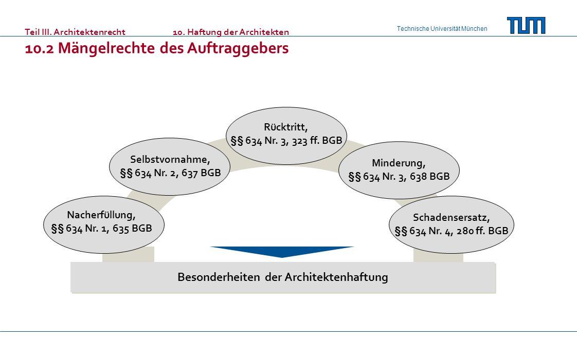 Technische Universität München Teil III. Architektenrecht10. Haftung der Architekten 10.2 Mängelrechte des Auftraggebers Nacherfüllung, §§ 634 Nr. 1,