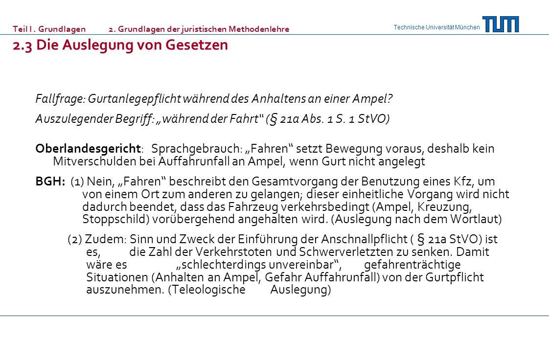 Technische Universität München Teil I. Grundlagen 2. Grundlagen der juristischen Methodenlehre 2.3 Die Auslegung von Gesetzen Fallfrage: Gurtanlegepfl