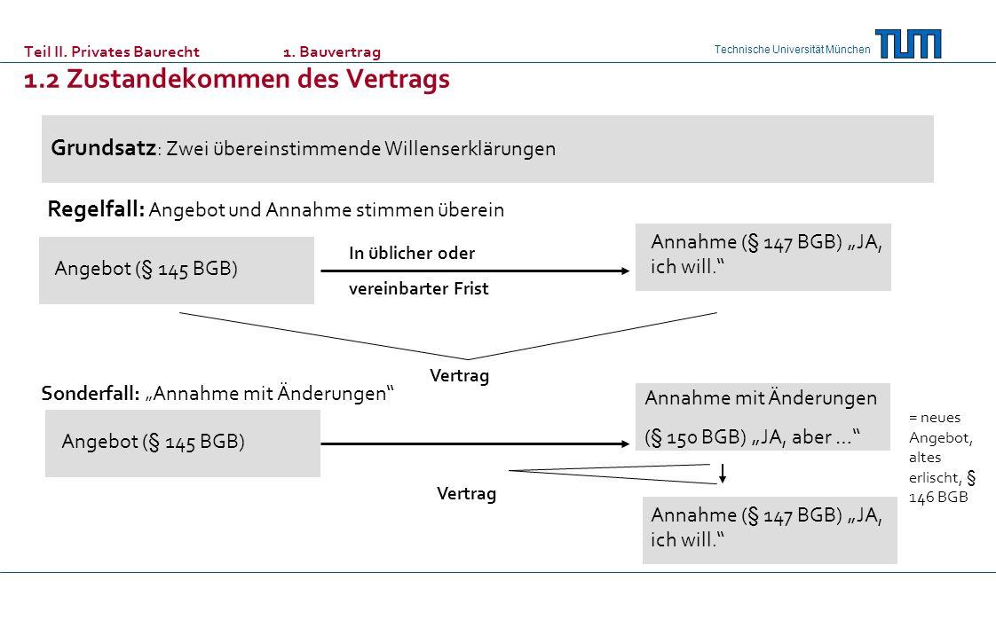 Technische Universität München Teil II. Privates Baurecht 1. Bauvertrag 1.2 Zustandekommen des Vertrags Grundsatz : Zwei übereinstimmende Willenserklä