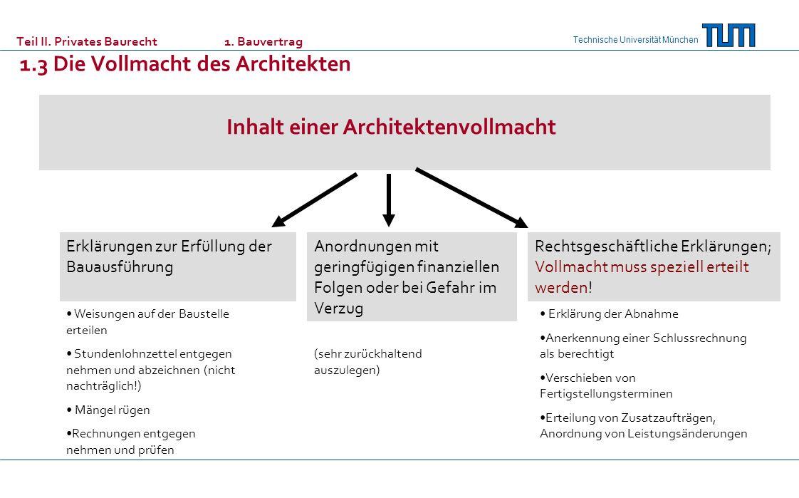 Technische Universität München Teil II. Privates Baurecht 1. Bauvertrag 1.3 Die Vollmacht des Architekten Inhalt einer Architektenvollmacht Erklärunge