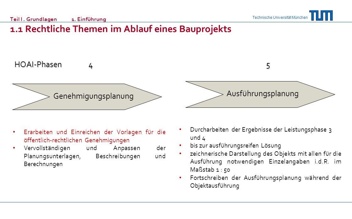Technische Universität München Teil I. Grundlagen 1. Einführung 1.1 Rechtliche Themen im Ablauf eines Bauprojekts Erarbeiten und Einreichen der Vorlag