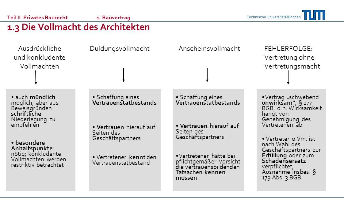 Technische Universität München Ausdrückliche und konkludente Vollmachten DuldungsvollmachtAnscheinsvollmacht auch mündlich möglich, aber aus Beweisgrü