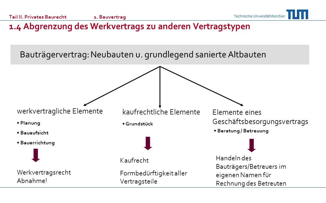 Technische Universität München Bauträgervertrag: Neubauten u. grundlegend sanierte Altbauten werkvertragliche Elemente kaufrechtliche Elemente Element