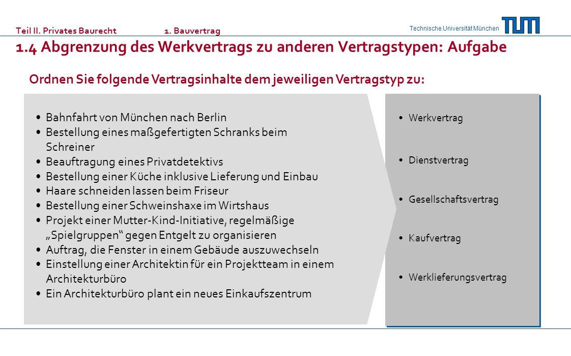 Technische Universität München Bahnfahrt von München nach Berlin Bestellung eines maßgefertigten Schranks beim Schreiner Beauftragung eines Privatdetektivs Bestellung einer Küche inklusive Lieferung und Einbau Haare schneiden lassen beim Friseur Bestellung einer Schweinshaxe im Wirtshaus Projekt einer Mutter-Kind-Initiative, regelmäßige Spielgruppen gegen Entgelt zu organisieren Auftrag, die Fenster in einem Gebäude auszuwechseln Einstellung einer Architektin für ein Projektteam in einem Architekturbüro Ein Architekturbüro plant ein neues Einkaufszentrum Werkvertrag Dienstvertrag Gesellschaftsvertrag Kaufvertrag Werklieferungsvertrag Ordnen Sie folgende Vertragsinhalte dem jeweiligen Vertragstyp zu: Teil II.