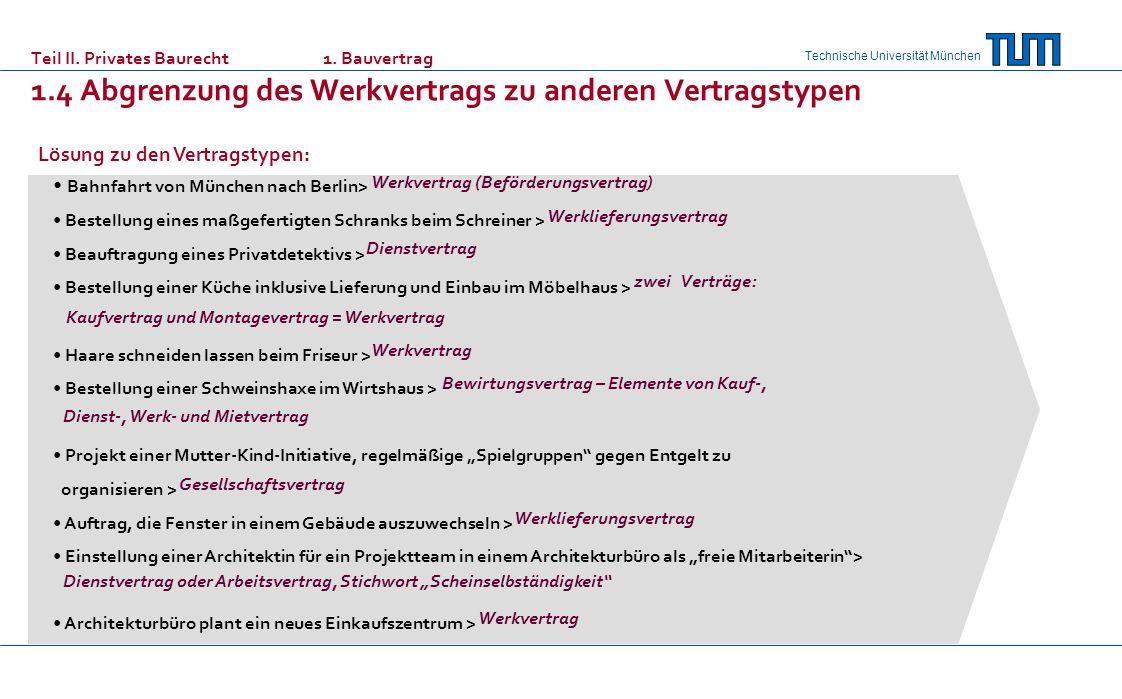 Technische Universität München Lösung zu den Vertragstypen: Bahnfahrt von München nach Berlin> Bestellung eines maßgefertigten Schranks beim Schreiner > Beauftragung eines Privatdetektivs > Bestellung einer Küche inklusive Lieferung und Einbau im Möbelhaus > Haare schneiden lassen beim Friseur > Bestellung einer Schweinshaxe im Wirtshaus > Projekt einer Mutter-Kind-Initiative, regelmäßige Spielgruppen gegen Entgelt zu organisieren > Auftrag, die Fenster in einem Gebäude auszuwechseln > Einstellung einer Architektin für ein Projektteam in einem Architekturbüro als freie Mitarbeiterin> Architekturbüro plant ein neues Einkaufszentrum > Werkvertrag (Beförderungsvertrag) Werklieferungsvertrag Dienstvertrag zwei Verträge: Kaufvertrag und Montagevertrag = Werkvertrag Werkvertrag Bewirtungsvertrag – Elemente von Kauf-, Dienst-, Werk- und Mietvertrag Gesellschaftsvertrag Werklieferungsvertrag Dienstvertrag oder Arbeitsvertrag, Stichwort Scheinselbständigkeit Werkvertrag Teil II.