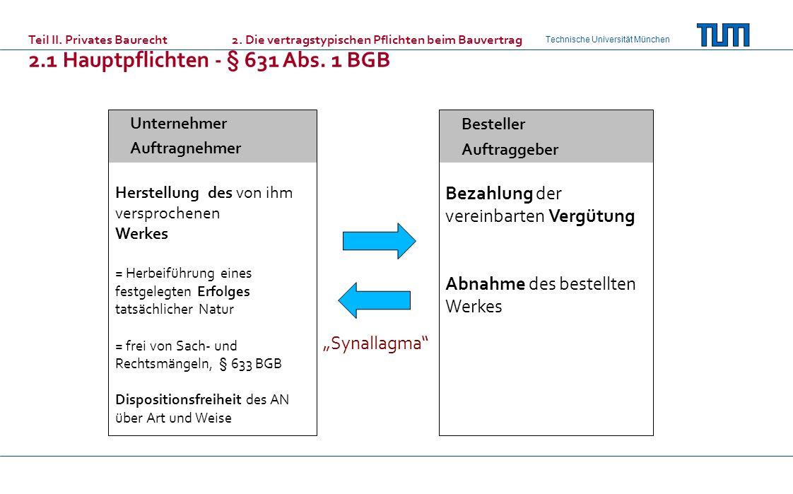 Technische Universität München Unternehmer Auftragnehmer Besteller Auftraggeber Bezahlung der vereinbarten Vergütung Abnahme des bestellten Werkes Teil II.