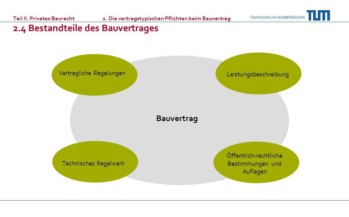 Technische Universität München Teil II. Privates Baurecht 2. Die vertragstypischen Pflichten beim Bauvertrag 2.4 Bestandteile des Bauvertrages Technis