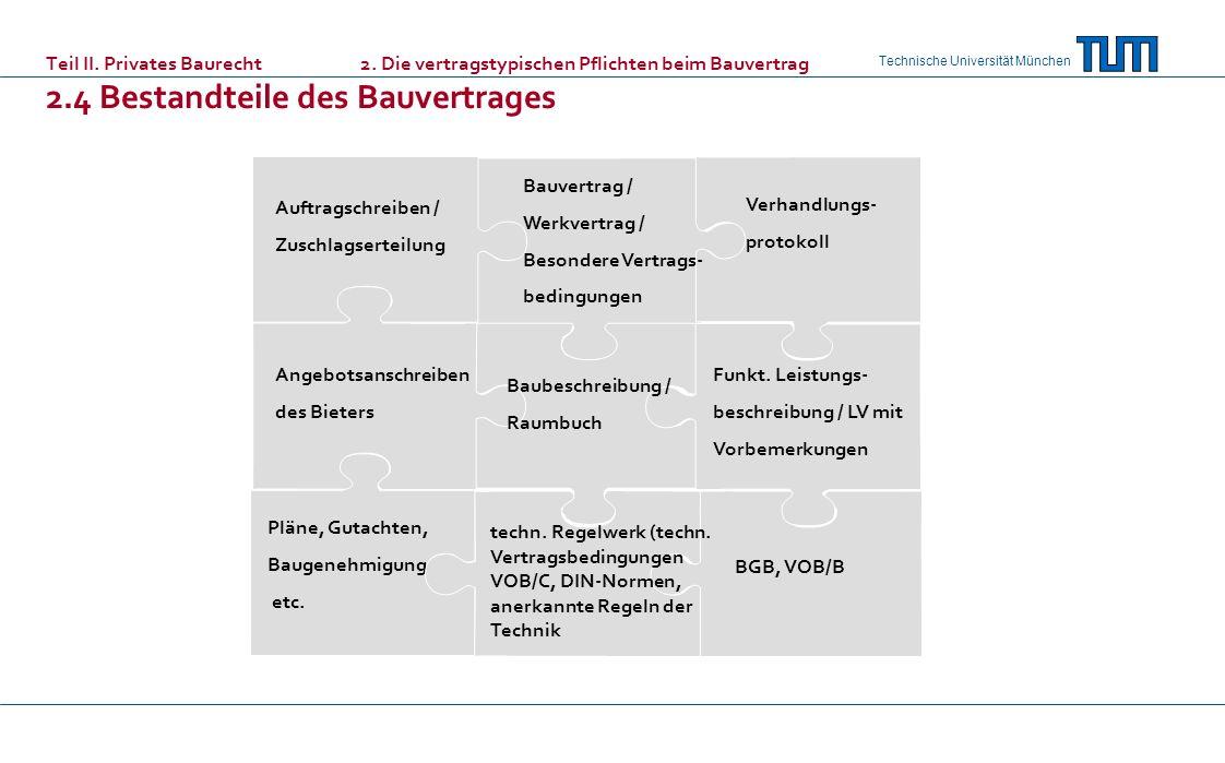 Technische Universität München Teil II. Privates Baurecht 2. Die vertragstypischen Pflichten beim Bauvertrag 2.4 Bestandteile des Bauvertrages Auftrag