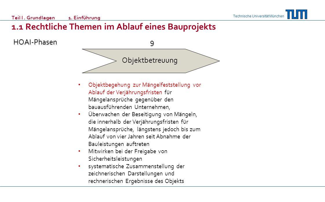 Technische Universität München Objektbetreuung HOAI-Phasen9 Objektbegehung zur Mängelfeststellung vor Ablauf der Verjährungsfristen für Mängelansprüch