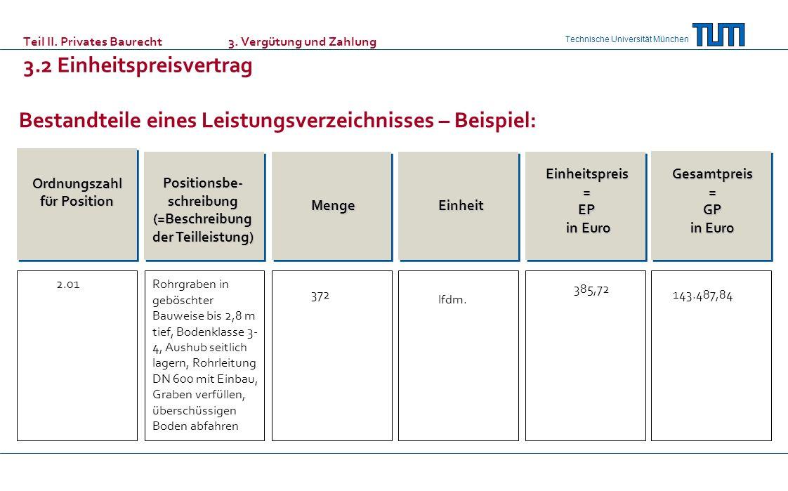 Technische Universität München Teil II. Privates Baurecht 3. Vergütung und Zahlung 3.2 Einheitspreisvertrag Bestandteile eines Leistungsverzeichnisses