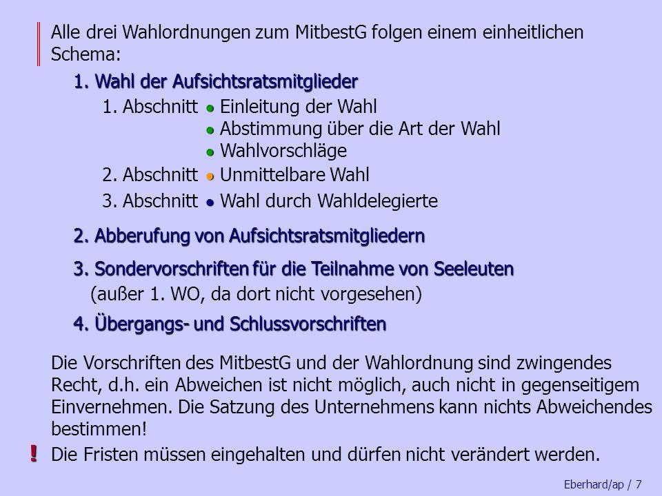Eberhard/ap / 67 Unternehmensleitung Die Unternehmensleitung muss die Wahlakten mindestens 5 Jahre aufbewahren 5 Jahre aufbewahren.