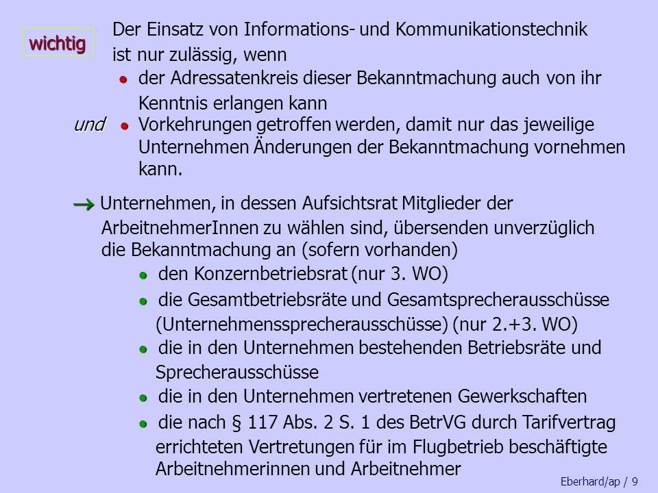 Abstimmung über die Art der Wahl Wahlverfahren steht endgültig fest Wahlausschreiben bis zu 8.000 Beschäftigte unmittelbare Wahl unmittelbare Wahl über 8.000 Beschäftigte Wahl durch Delegierte Wahl der Delegierten Wahl durch Delegierte Eberhard/ap / 29