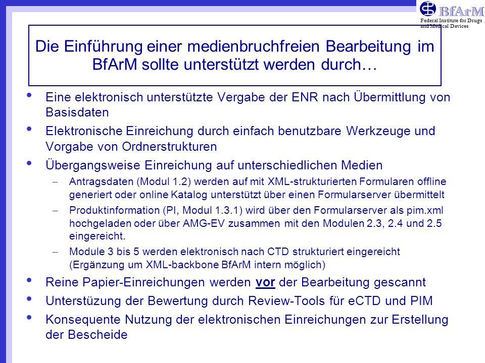 Federal Institute for Drugs and Medical Devices Die Einführung einer medienbruchfreien Bearbeitung im BfArM sollte unterstützt werden durch… Eine elek