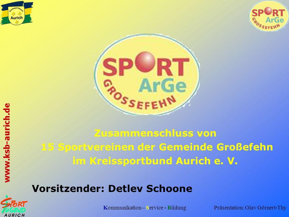 Kommunikation – Service - Bildung www.ksb-aurich.de Zusammenschluss von 15 Sportvereinen der Gemeinde Großefehn im Kreissportbund Aurich e. V. Vorsitz