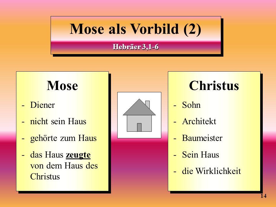 14 Mose als Vorbild (2) Hebräer 3,1-6 Mose als Vorbild (2) Hebräer 3,1-6 Mose - Diener - nicht sein Haus - gehörte zum Haus - das Haus zeugte von dem