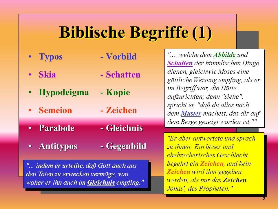 Biblische Begriffe (1) Typos- Vorbild Skia- Schatten Hypodeigma- Kopie Semeion- Zeichen Parabole- GleichnisParabole- Gleichnis Antitypos- GegenbildAnt