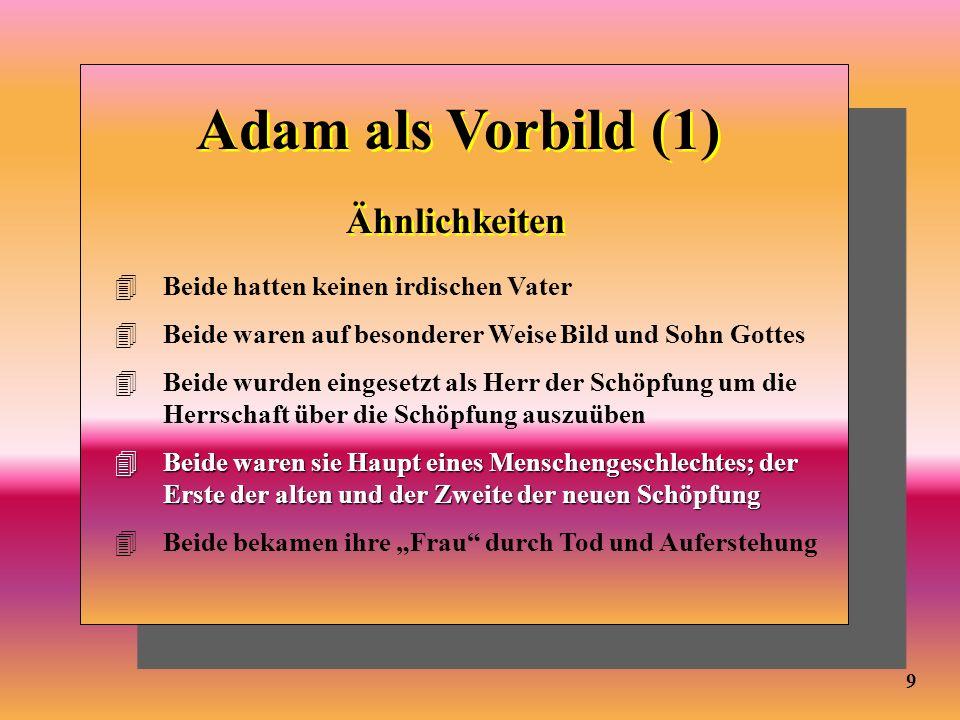 9 Adam als Vorbild (1) Ähnlichkeiten 4Beide hatten keinen irdischen Vater 4Beide waren auf besonderer Weise Bild und Sohn Gottes 4Beide wurden eingese
