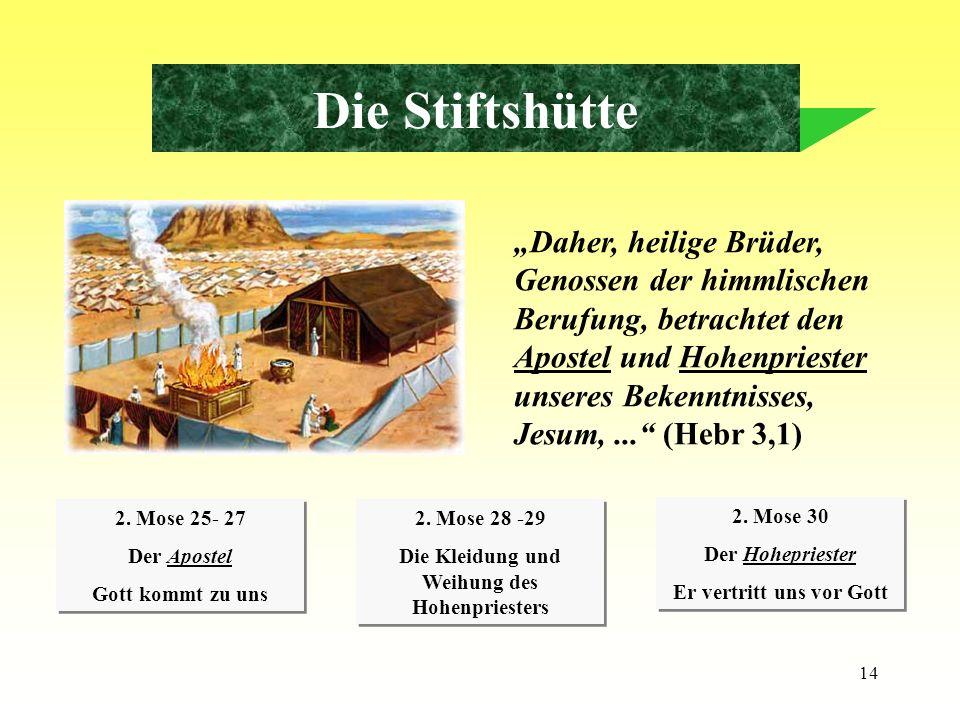 14 Die Stiftshütte Daher, heilige Brüder, Genossen der himmlischen Berufung, betrachtet den Apostel und Hohenpriester unseres Bekenntnisses, Jesum,...