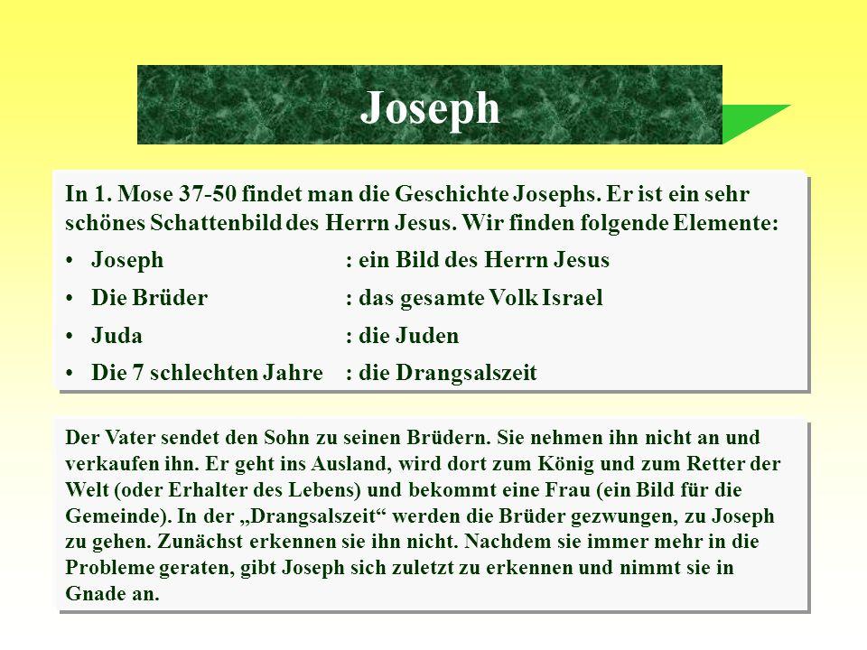 5 Joseph In 1. Mose 37-50 findet man die Geschichte Josephs. Er ist ein sehr schönes Schattenbild des Herrn Jesus. Wir finden folgende Elemente: Josep