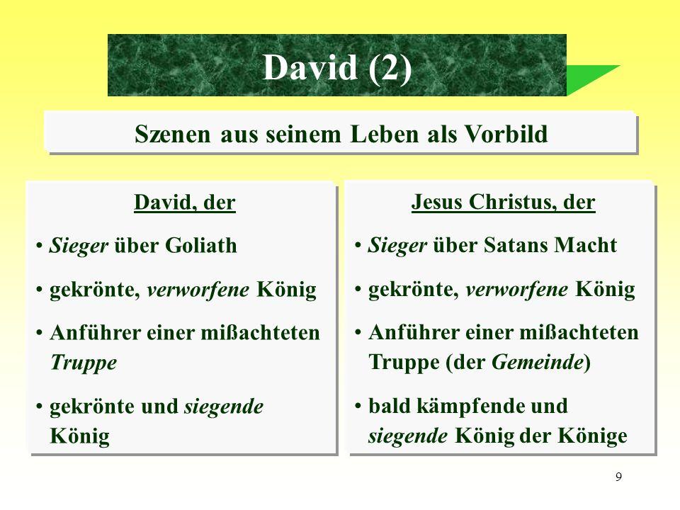 10 David (3) Die Geschichte Mephiboseths als Vorbild Mephiboseth war lahm an beiden Füßen geflohen vor dem König Er wurde begnadigt (wegen Jonathan) in die Stellung eines Sohnes versetzt und an den Tisch des Königs erhoben.