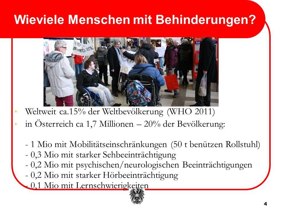 4 Wieviele Menschen mit Behinderungen? Weltweit ca.15% der Weltbevölkerung (WHO 2011) in Österreich ca 1,7 Millionen – 20% der Bevölkerung: - 1 Mio mi
