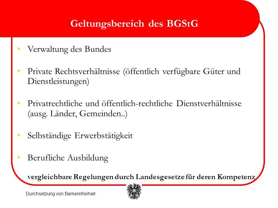 Geltungsbereich des BGStG Verwaltung des Bundes Private Rechtsverhältnisse (öffentlich verfügbare Güter und Dienstleistungen) Privatrechtliche und öff
