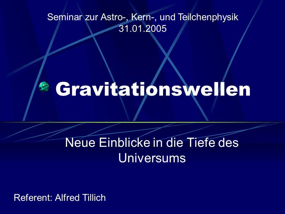 Gravitationswellen Ansatz: Für kleine Störungen (Störungstheorie) Entwickeln und betrachten nur lineare Terme Damit ergibt sich die lineare Wellengleichung: Lösungen im Vakuum (für T = 0) ebene Wellen