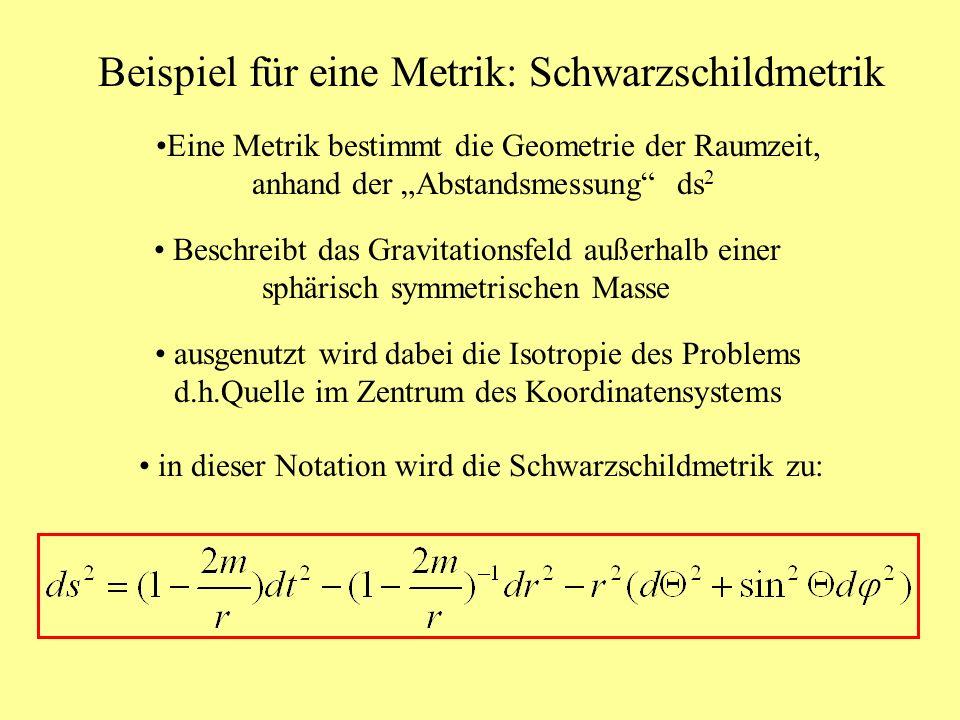 Beispiel für eine Metrik: Schwarzschildmetrik Beschreibt das Gravitationsfeld außerhalb einer sphärisch symmetrischen Masse ausgenutzt wird dabei die