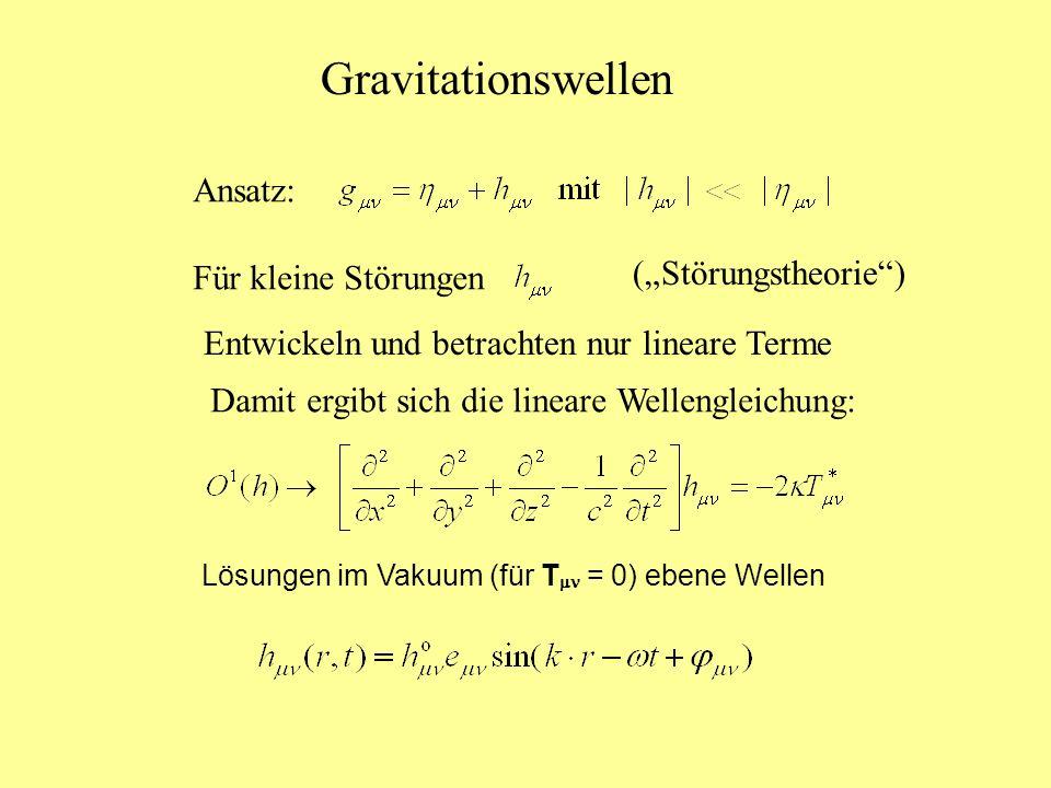 Gravitationswellen Ansatz: Für kleine Störungen (Störungstheorie) Entwickeln und betrachten nur lineare Terme Damit ergibt sich die lineare Wellenglei