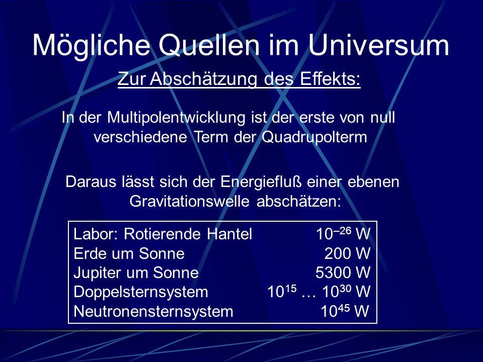 Mögliche Quellen im Universum Zur Abschätzung des Effekts: In der Multipolentwicklung ist der erste von null verschiedene Term der Quadrupolterm Labor