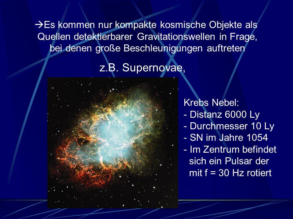 Es kommen nur kompakte kosmische Objekte als Quellen detektierbarer Gravitationswellen in Frage, bei denen große Beschleunigungen auftreten z.B. Super