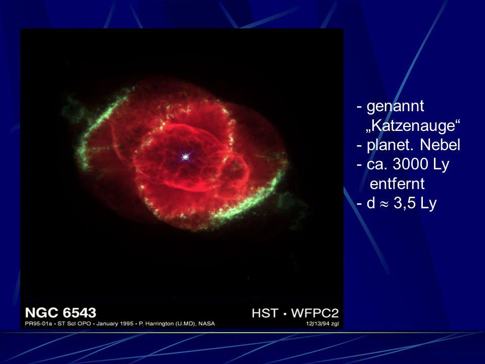 - genannt Katzenauge - planet. Nebel - ca. 3000 Ly entfernt - d 3,5 Ly