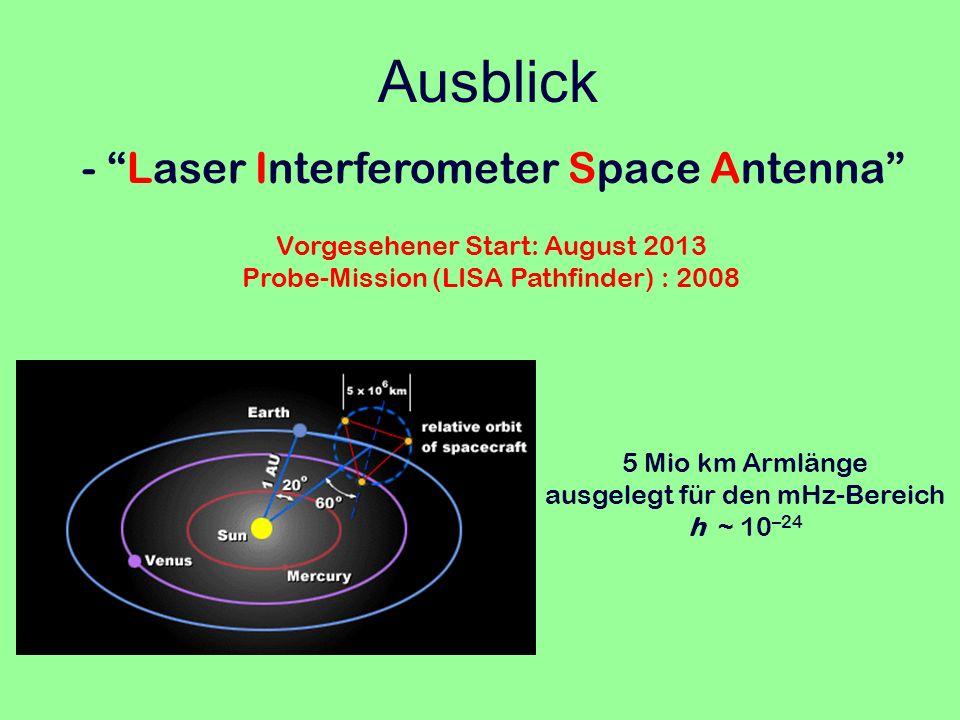 Ausblick - Laser Interferometer Space Antenna 5 Mio km Armlänge ausgelegt für den mHz-Bereich h ~ 10 –24 Vorgesehener Start: August 2013 Probe-Mission