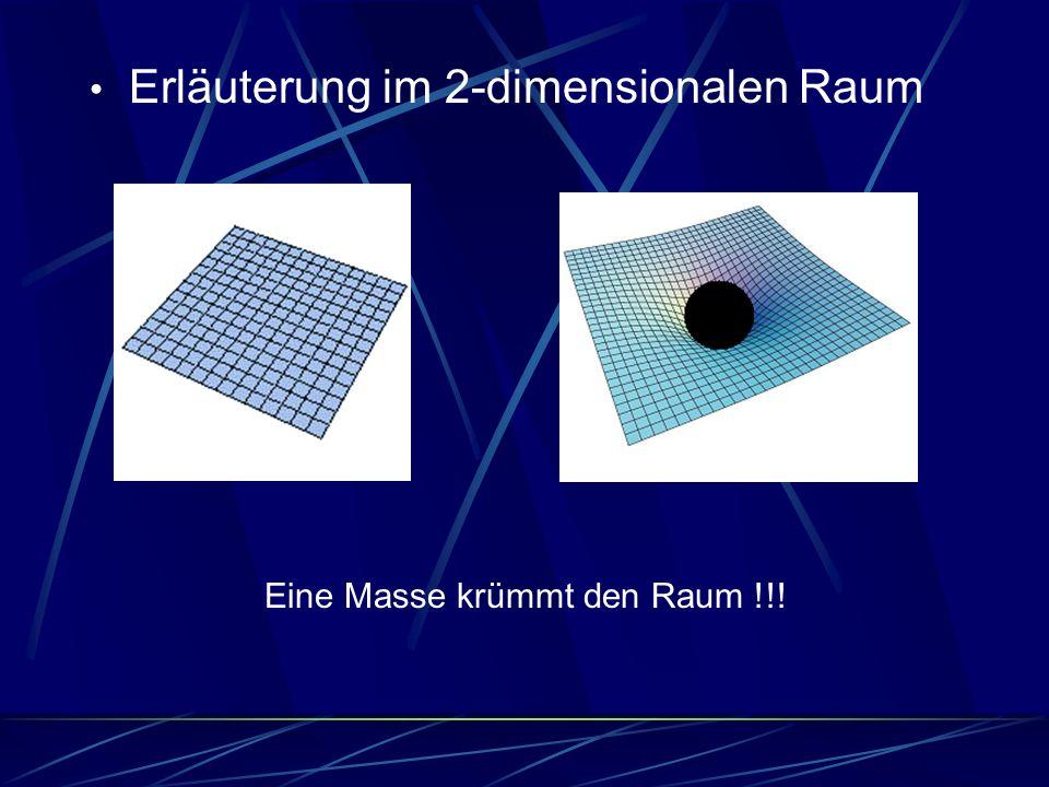 Erläuterung im 2-dimensionalen Raum Eine Masse krümmt den Raum !!!
