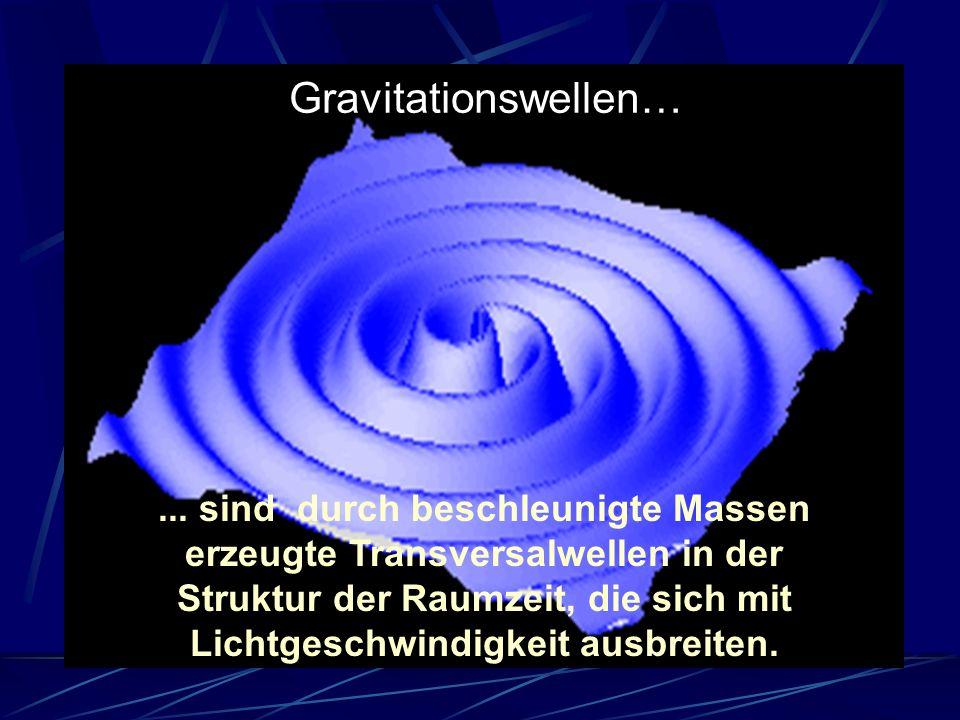 ... sind durch beschleunigte Massen erzeugte Transversalwellen in der Struktur der Raumzeit, die sich mit Lichtgeschwindigkeit ausbreiten. Gravitation