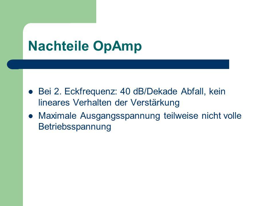 Nachteile OpAmp Bei 2. Eckfrequenz: 40 dB/Dekade Abfall, kein lineares Verhalten der Verstärkung Maximale Ausgangsspannung teilweise nicht volle Betri