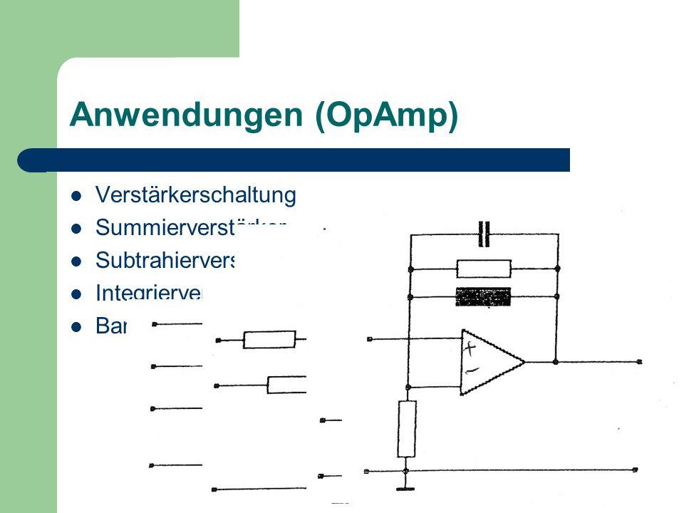 Anwendungen (OpAmp) Verstärkerschaltung Summierverstärker Subtrahierverstärker Integrierverstärker Bandpassfilter