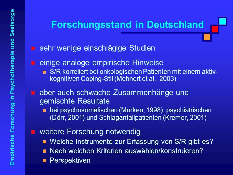 Empirische Forschung in Psychotherapie und Seelsorge Forschungsstand in Deutschland sehr wenige einschlägige Studien einige analoge empirische Hinweis