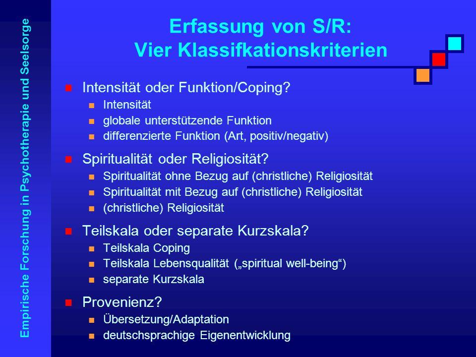 Empirische Forschung in Psychotherapie und Seelsorge Erfassung von S/R: Vier Klassifkationskriterien Intensität oder Funktion/Coping? Intensität globa